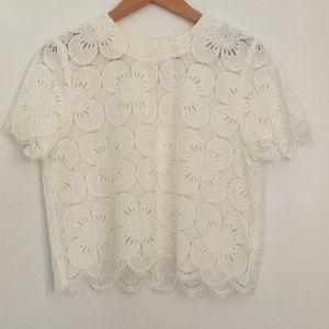 H&M women white lace cropped top size 2
